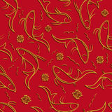 Chinese vector seamless pattern with ornamental fish. Golden fish contours with shadow on a red background Stock Images