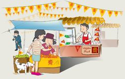 Chinese Vegan food festival in thailand. Every year on October has Chinese Vegetarian food festival at Market sidewalk street in Thailand. Which are sold on the Royalty Free Stock Photos