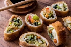 Chinese Vegetable Egg Rolls / Borek with soy soya sauce and chopsticks Stock Photos