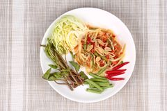Spicy papaya salad with mixed vegetable  for Chinese vegetable f. Chinese Vegetable festival as spicy papaya salad with mixed vegetable call Som Tum J in Thai Royalty Free Stock Photo