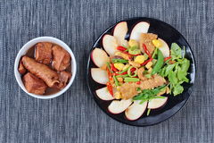 Free Chinese Vegetable Festival Food As Fried Ginkgo With Mixed Vegetables Served With Fried Tofu And Fermented Flour In Brown Soup , Royalty Free Stock Images - 77976239