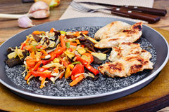 Chinese Vegetable Mix with Chicken Grilled Fillet Stock Photo