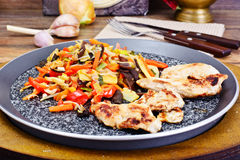 Chinese Vegetable Mix with Chicken Grilled Fillet Royalty Free Stock Photos