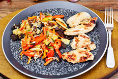 Chinese Vegetable Mix with Chicken Grilled Fillet Royalty Free Stock Images