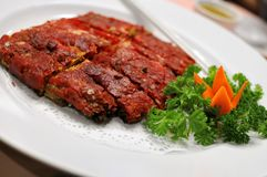 Chinese vegetarian deep fried pork slices Stock Photos