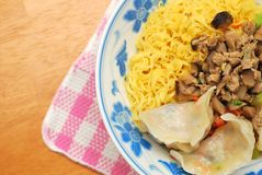 Chinese vegetarian dumpling noodles Stock Photography