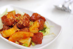 Chinese vegetarian sweet and sour pork Stock Photography