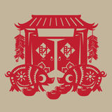 Chinese vette varkens papier-snijdt Royalty-vrije Stock Afbeelding