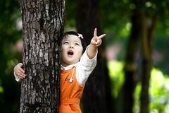 Chinese victory girl. The Chinese girl with victory gesture. This photograph was taken in her 26 months Stock Photo