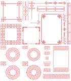 Chinese vierkante de borstelreeks van de kadercirkel royalty-vrije illustratie