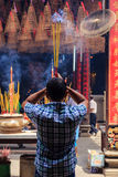 Chinese Vietnamese Praying in Temple Royalty Free Stock Photos