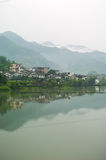 Chinese village. Rural chinese village with reflection in a lake Royalty Free Stock Photos