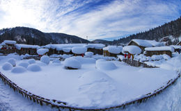 Chinese village covered by snow Stock Photos