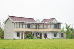 A Chinese village house and farm land Stock Photos