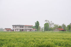 Chinese village houses and farm land Stock Photography