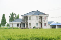 Chinese village houses and farm land Royalty Free Stock Photo