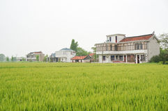 Chinese village houses and farm land Stock Photo