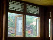 Chinese village through the opens window Royalty Free Stock Image
