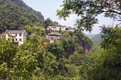 Chinese village in Qiyun Mountain Stock Photo