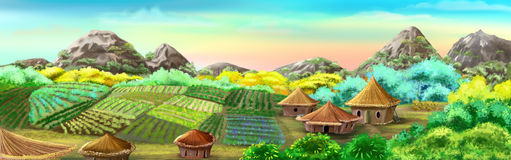 Chinese Village and Rice Fields. Digital painting of the Chinese Village and Rice Fields. Panorama with small houses, plants and mountains Royalty Free Stock Photos