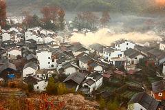 Chinese village in sunrise Royalty Free Stock Images