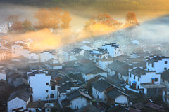 Chinese village in sunrise Royalty Free Stock Photo