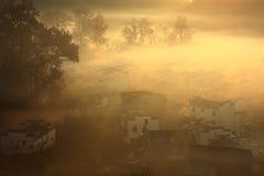 Chinese village sunrise,Wuyuan Royalty Free Stock Photos