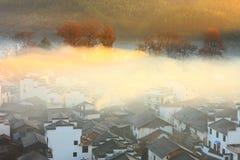 Chinese village sunrise,Wuyuan Stock Photo