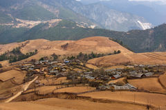 Chinese village in yunnan plateau. Shangri-la in yunnan province in China, the village was serene plateau red earth Stock Image