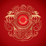Chinese Vintage Dragon Elements on classic red background Royalty Free Stock Photo