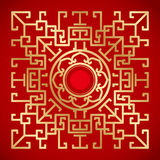 Chinese Vintage Dragon and lotus Elements on classic red backgro Stock Image