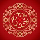 Chinese Vintage Elements on classic red background Stock Photo