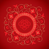 Chinese vintage flower elements on classic red background Royalty Free Stock Photo