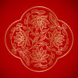 Chinese Vintage flower Elements on classic red background Stock Photos