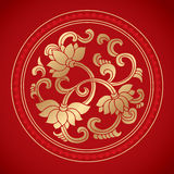 Chinese Vintage Lotus Elements on classic red background Stock Photos