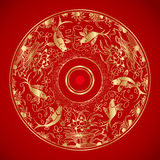 Chinese vintage pattern with Goldfish in water and lotus Stock Photo