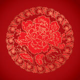 Chinese vintage Peony elements on classic red background Royalty Free Stock Image