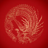Chinese vintage Phoenix elements on classic red background Stock Photo
