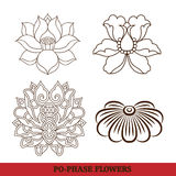 Chinese virtual po-phase flowers set Royalty Free Stock Photos