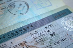 Chinese visa. A chinese visa with stamps royalty free stock photography