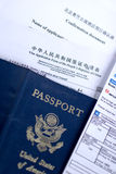 Chinese Visa Application. Including a United States passport Royalty Free Stock Photo