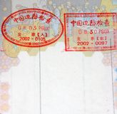 Chinese visa stamps. European passport with chinese visa stamps Stock Photo