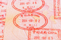Chinese Visa stamps in the passport Royalty Free Stock Photography
