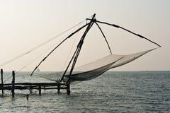 Chinese visser netto in Cochin in Kerala, India stock afbeeldingen