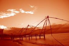 Chinese visserijnetten, India Royalty-vrije Stock Afbeeldingen
