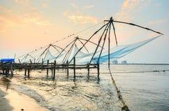 Chinese visserijnetten van fort cochin Stock Afbeeldingen