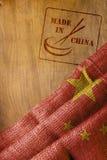 Chinese vlag en gemaakt in China met eetstokjes stock foto's