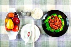 Chinese voedsel algemene tso kip (de Kip van Algemene Chang) Stock Fotografie