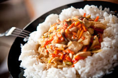 Chinese voedselkip met groenten en rijst royalty-vrije stock foto