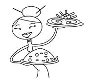 Chinese waitress. Black and white drawing about a chinese waitress carrying two dish Stock Image